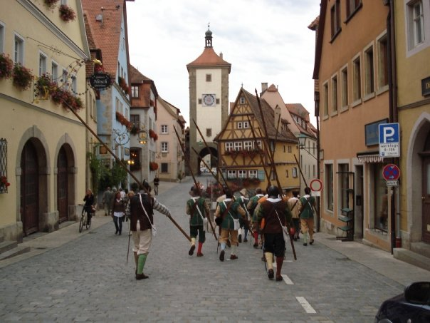 """The pikeman """"invading"""" the town!"""