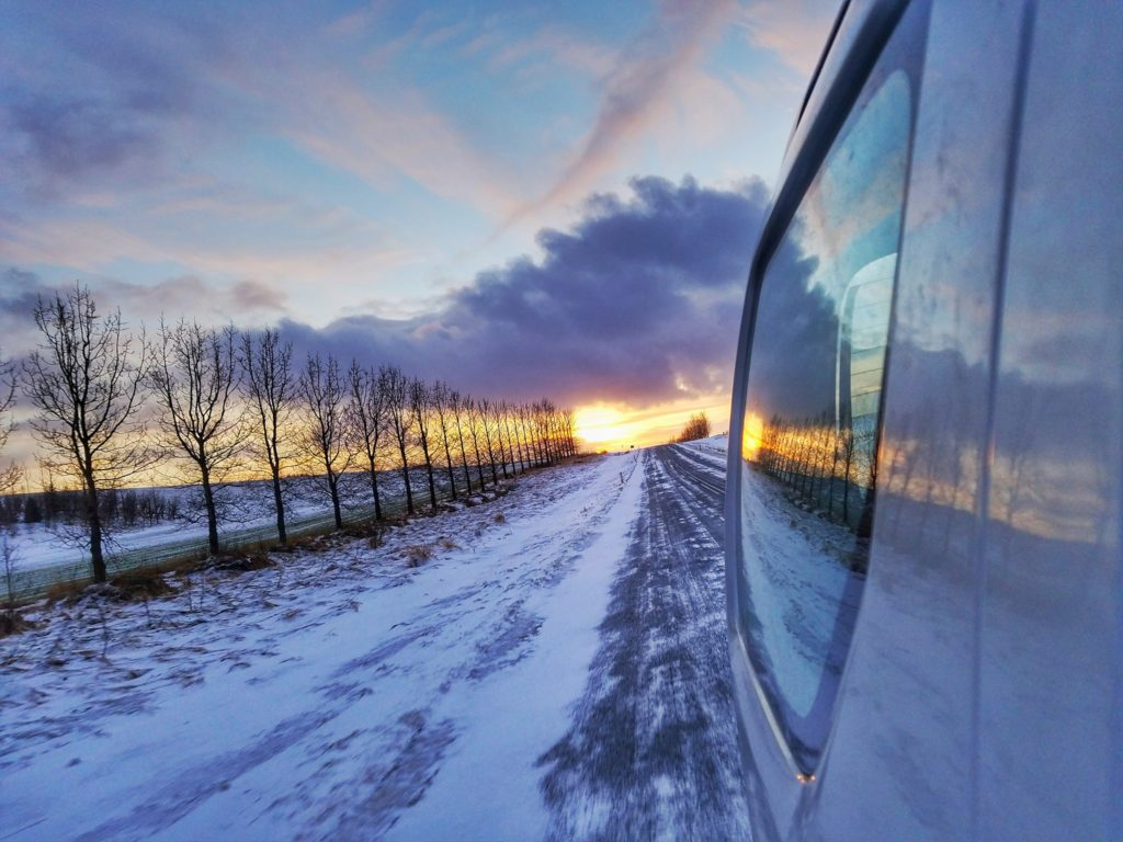 Iceland rental car sunset