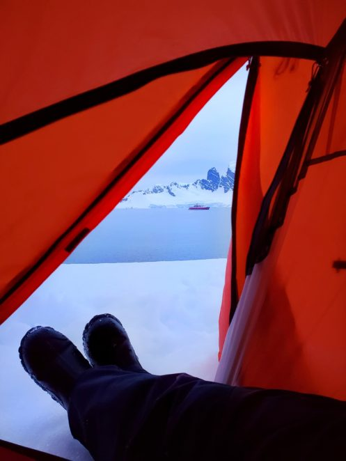 views from the tent when camping in Antarctica
